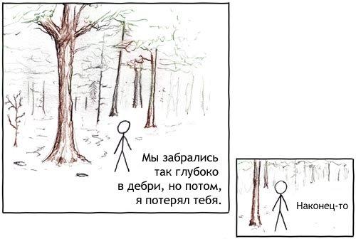 Среди деревьев